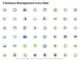 E Business Management Icons Slide Ppt Icons