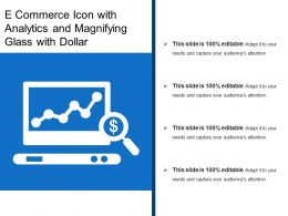 E Commerce Icon With Analytics And Magnifying Glass With Dollar