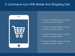 E Commerce Icon With Mobile And Shopping Cart