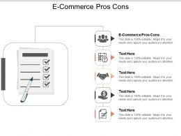 E Commerce Pros Cons Ppt Powerpoint Presentation Infographic Template Visuals Cpb