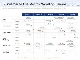 E Governance Five Months Marketing Timeline Ppt Model Introduction
