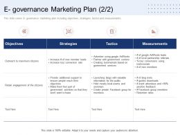 E Governance Marketing Plan Tactics Ppt Design Templates