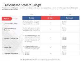 E Governance Services Budget Electronic Government Processes Ppt Formats