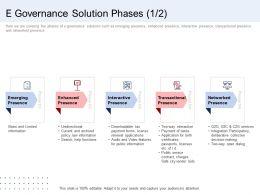 E Governance Solution Phases Presence Ppt Slides Professional