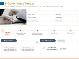 E Governance Tender Eligibility Criteria Ppt Powerpoint Presentation Designs