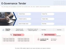 E Governance Tender Ppt Powerpoint Presentation Slides Visuals