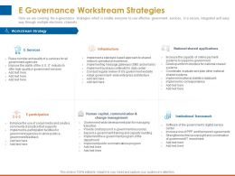 E Governance Workstream Strategies Change Management Ppt Powerpoint Ideas