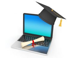 E Learning Concept With Laptop And Graduation Cap With Degree Stock Photo
