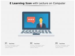 E Learning Icon With Lecture On Computer