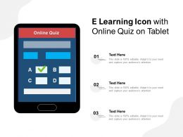 E Learning Icon With Online Quiz On Tablet