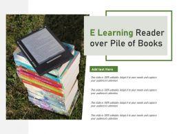 E Learning Reader Over Pile Of Books