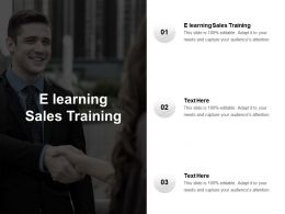 E Learning Sales Training Ppt Powerpoint Presentation Shapes Cpb