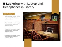 E Learning With Laptop And Headphones In Library
