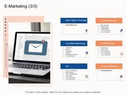E Marketing Using E Business Strategy Ppt Powerpoint Presentation Deck