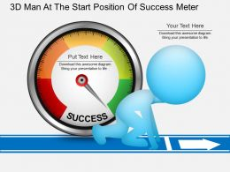 ea 3d Man At The Start Position Of Success Meter Powerpoint Template