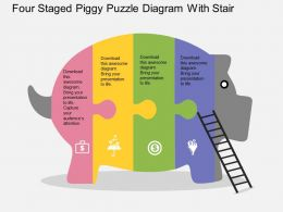 ea Four Staged Piggy Puzzle Diagram With Stair Flat Powerpoint Design