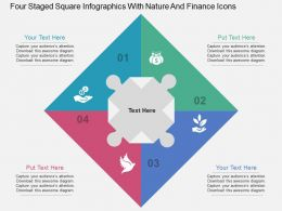 ea Four Staged Square Infographics With Nature And Finance Icons Flat Powerpoint Design