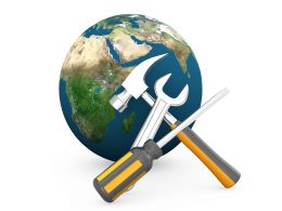 Earth Globe With Hammer Wrench Screwdriver Technology Tools Stock Photo