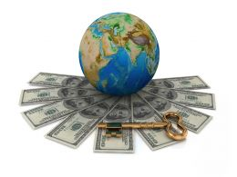 Earth Globe With Multiple Dollars Around Stock Photo