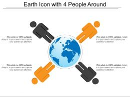 Earth Icon With 4 People Around