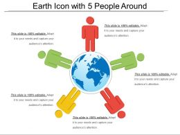 Earth Icon With 5 People Around