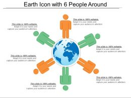 Earth Icon With 6 People Around