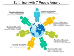 Earth Icon With 7 People Around