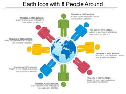 Earth Icon With 8 People Around