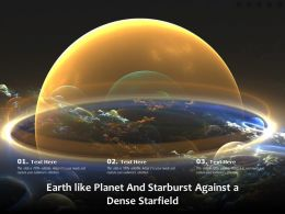 Earth Like Planet And Starburst Against A Dense Starfield