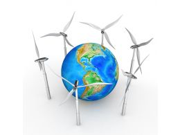 Earth Surrounded By Windmills Stock Photo