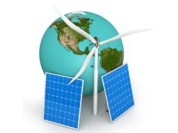 Earth With Solar Panels And Windmill Stock Photo