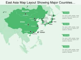 East Asia Map Layout Showing Major Countries And Cities