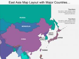 East Asia Map Layout With Major Countries Showing China And Taiwan