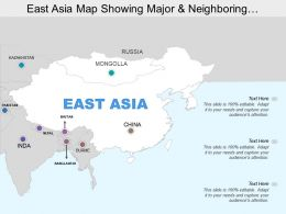 East Asia Map Showing Major And Neighboring Countries