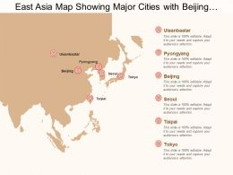 East Asia Map Showing Major Cities With Beijing And Tokyo