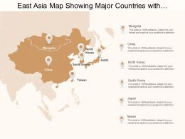 East Asia Map Showing Major Countries With China And Japan