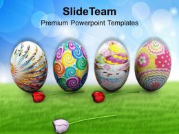 Easter Bunnies Colorful Eggs Holidays Powerpoint Templates Ppt Backgrounds For Slides