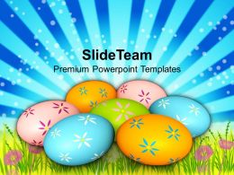 Easter Bunnies Colorful Eggs On Grass Tradition Powerpoint Templates Ppt Backgrounds For Slides