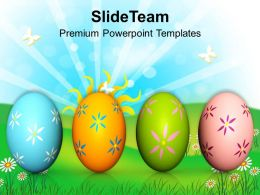 Easter Bunnies Colorful Eggs On White Background Powerpoint Templates Ppt Backgrounds For Slides