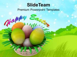Easter Bunnies Painted Eggs Basket Happy Powerpoint Templates Ppt Backgrounds For Slides