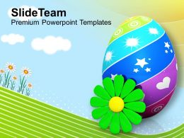 Easter Bunnies Painted Eggs With Flower Spring Season Powerpoint Templates Ppt Backgrounds For Slides