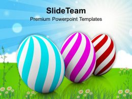 Easter Bunnies Three Colorful Eggs Of Day Festival Powerpoint Templates Ppt Backgrounds For Slides