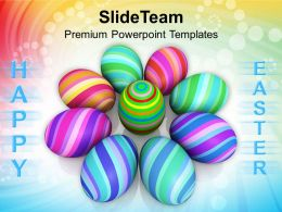 Easter Bunny Baskets Eggs In Circle Christian Festival Powerpoint Templates Ppt Backgrounds For Slides