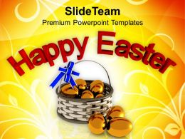 Easter Bunny Clipart Happy With Golden Eggs Religion Powerpoint Templates Ppt Backgrounds For Slides