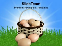Easter Bunny Eggs Basket With Bow Powerpoint Templates Ppt Backgrounds For Slides