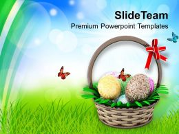 Easter Bunny Eggs In Basket Holidays Powerpoint Templates Ppt Backgrounds For Slides