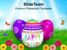 Easter Bunny Eggs In Garden With Butterflies Powerpoint Templates Ppt Backgrounds For Slides