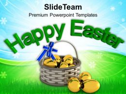 Easter Bunny Eggs In Gift Basket Powerpoint Templates Ppt Backgrounds For Slides