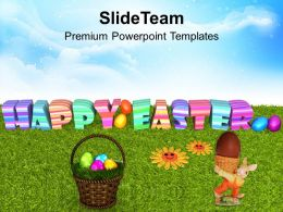 Easter Bunny Pics Eggs With Flower On Grass Powerpoint Templates Ppt Backgrounds For Slides