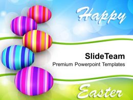 Easter Bunny Row Of Colorful Eggs Celebration Powerpoint Templates Ppt Backgrounds For Slides